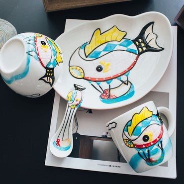 Creative Hand-painted Ceramic Childrens Cutlery Set 4 Piece Set - Jarblue