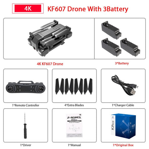 607 Quadcopter with Wifi FPV 4K/1080P HD Dual Camera Optical Flow Selfie Drone Foldable