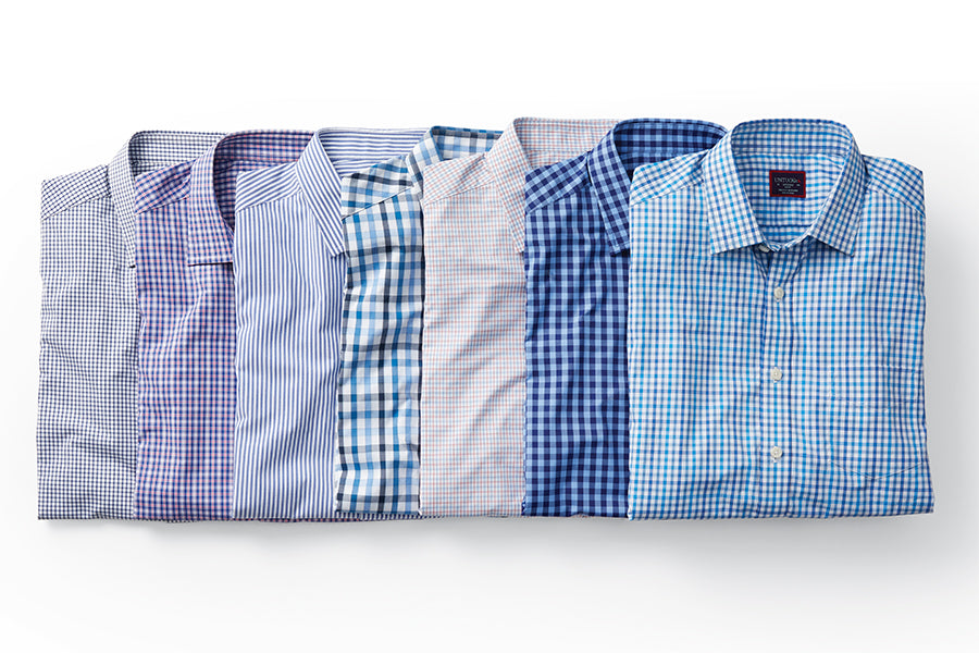 laydown of shirts in a line