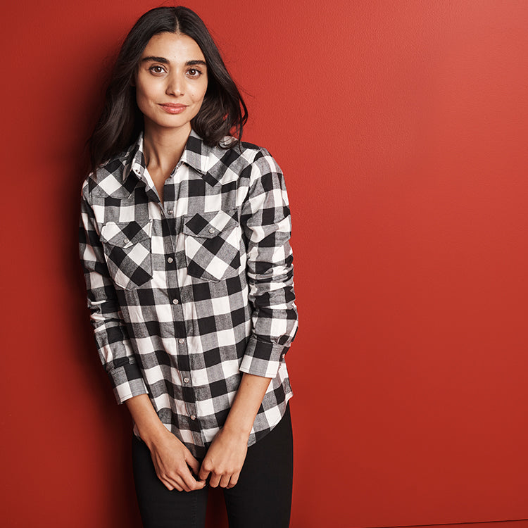 Woman wearing check shirt
