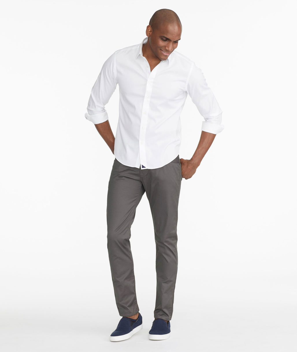 Model wearing a Dark Grey 5-Pocket Pants