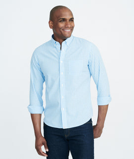 Model wearing a Aqua Wrinkle-Free Adige Shirt