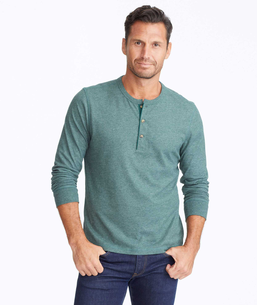 Model wearing a Bright Green Ultrasoft Long-Sleeve Henley