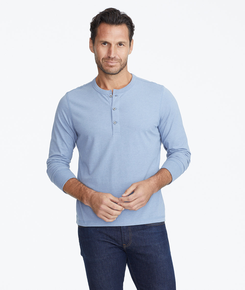 Model wearing a Mid Blue Ultrasoft Long-Sleeve Henley