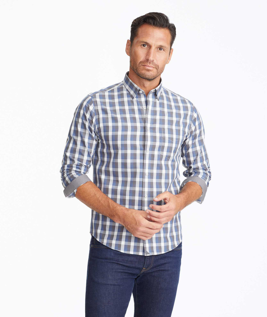 Model wearing a Blue Wrinkle-Free Altamura Shirt