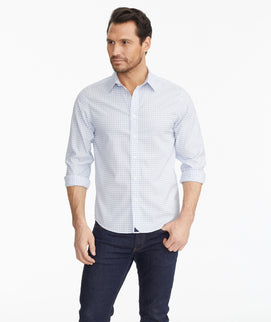 Model wearing a Blue Luxe Wrinkle-Free Antinori Shirt