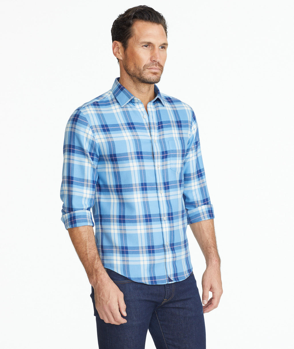Model wearing a Wrinkle-Free Lightweight Flannel Arrowood Shirt