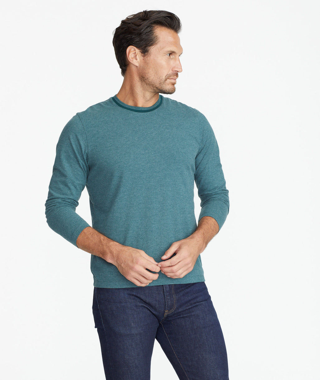 Model wearing a Green Ultrasoft Long-Sleeve Tee