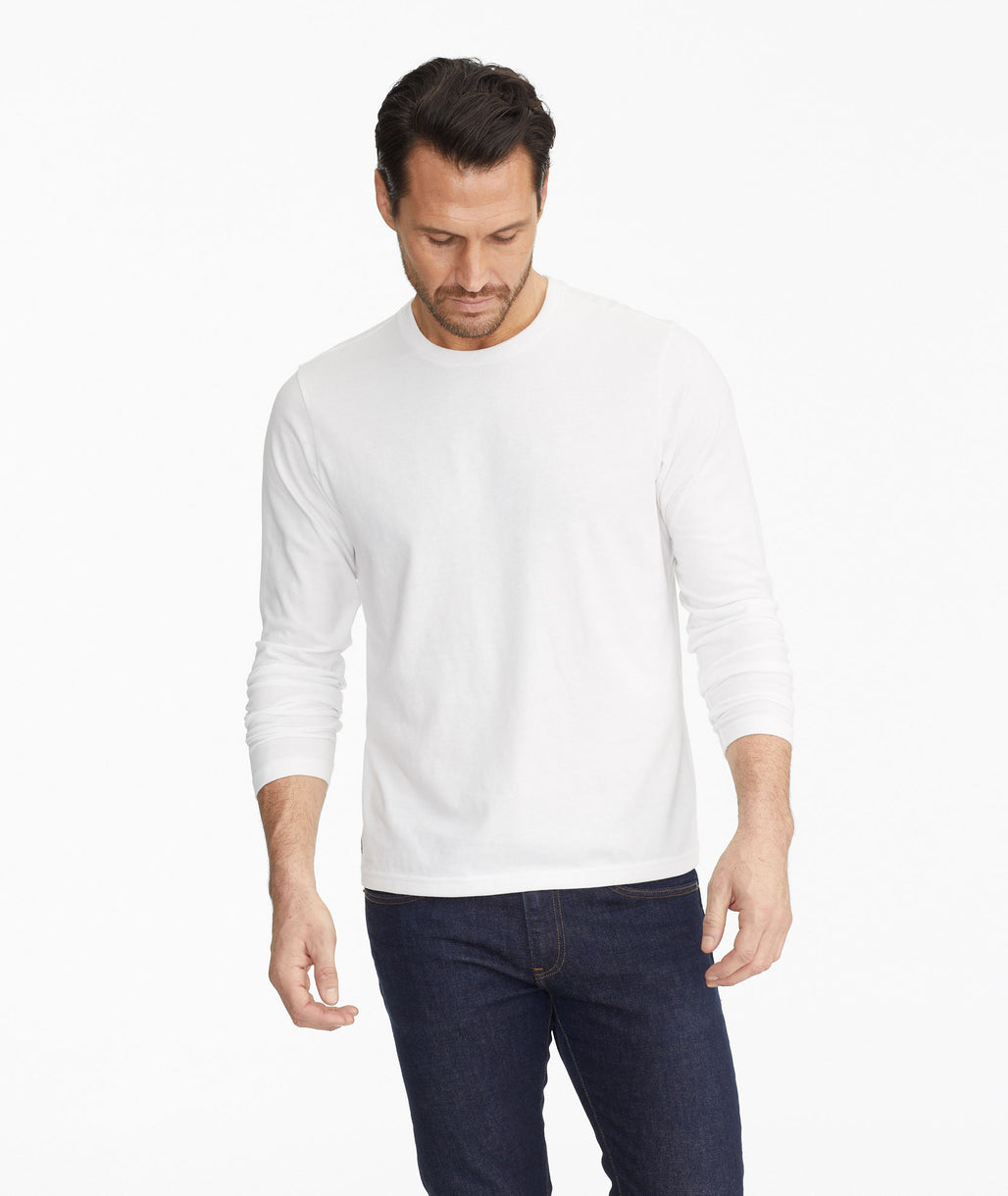 Model wearing a White Ultrasoft Long-Sleeve Tee