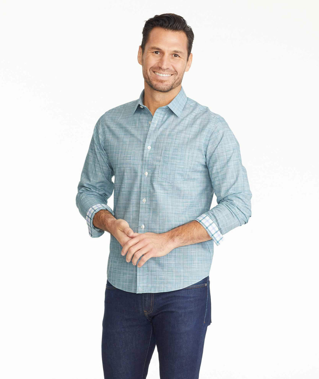 Model wearing a Wrinkle-Free Avellino Shirt