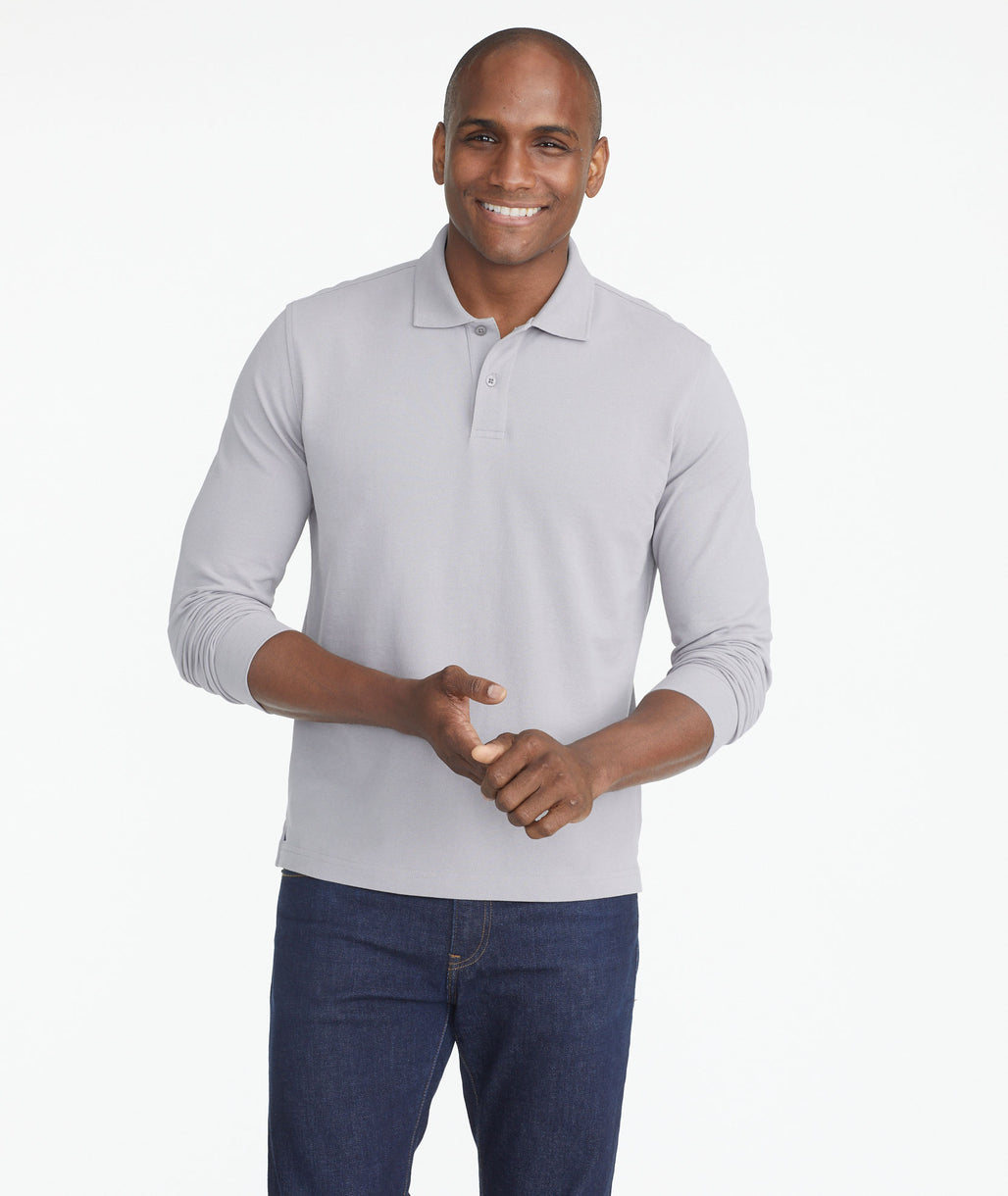 Model wearing a Grey Classic Long-Sleeve Polo