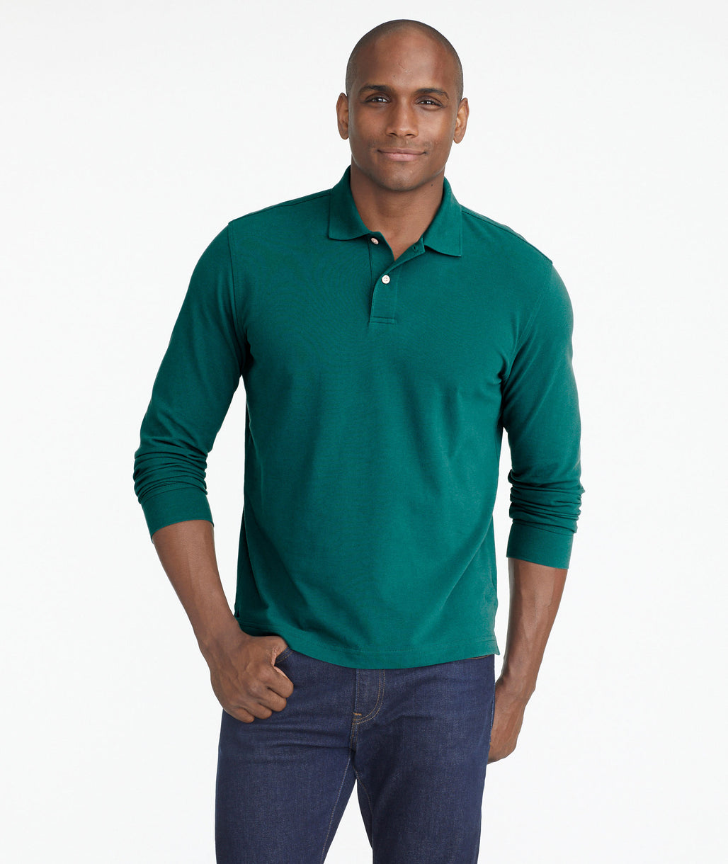Model wearing a Bright Blue Classic Long-Sleeve Polo
