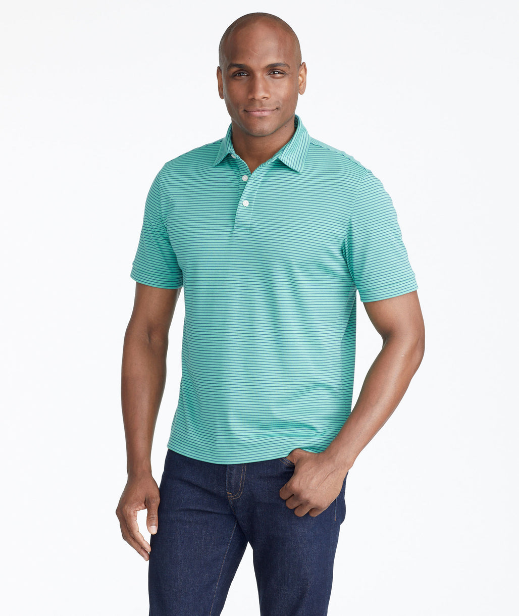 Model wearing a Green The Wrinkle-Free Polo