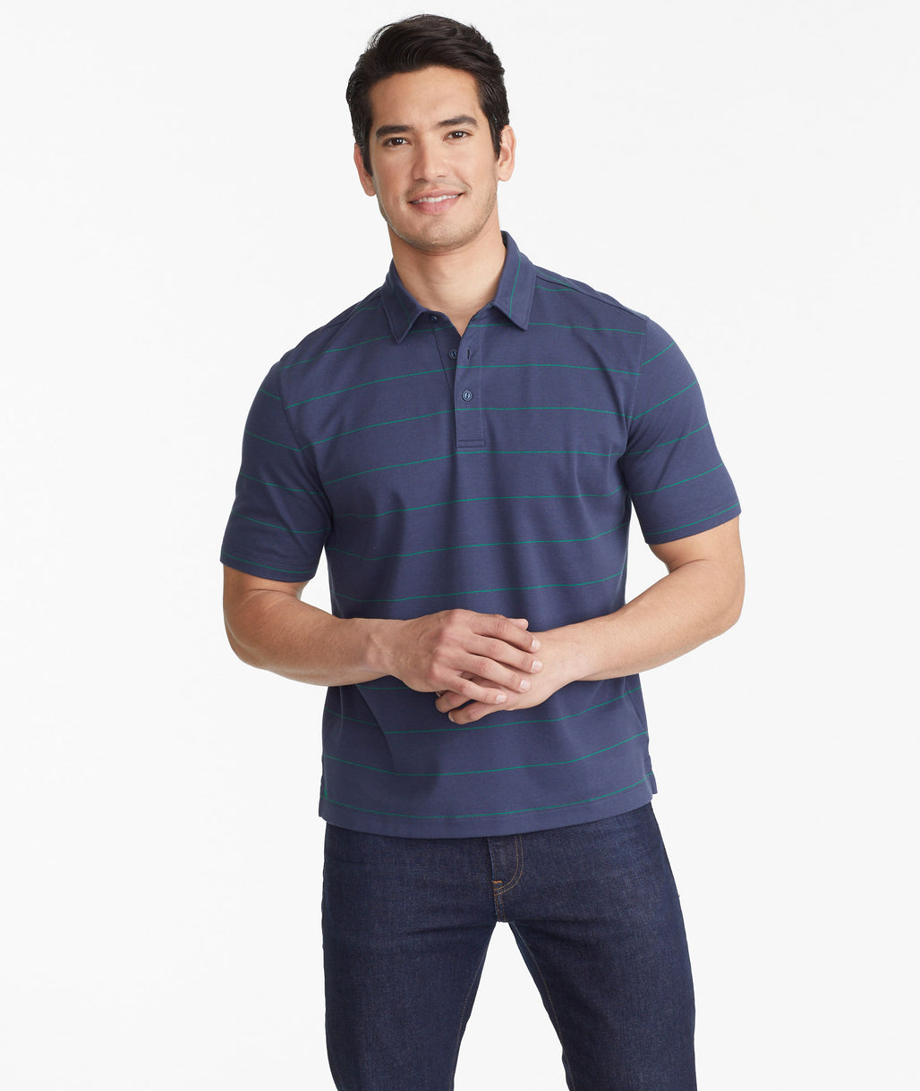 Model wearing a Navy The Wrinkle-Free Polo