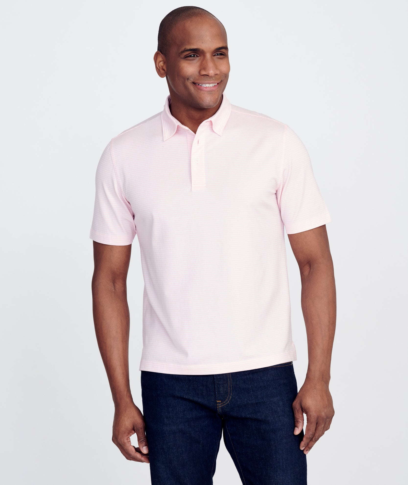 Axios Pink White Wrinkle Free Polo Untuckit