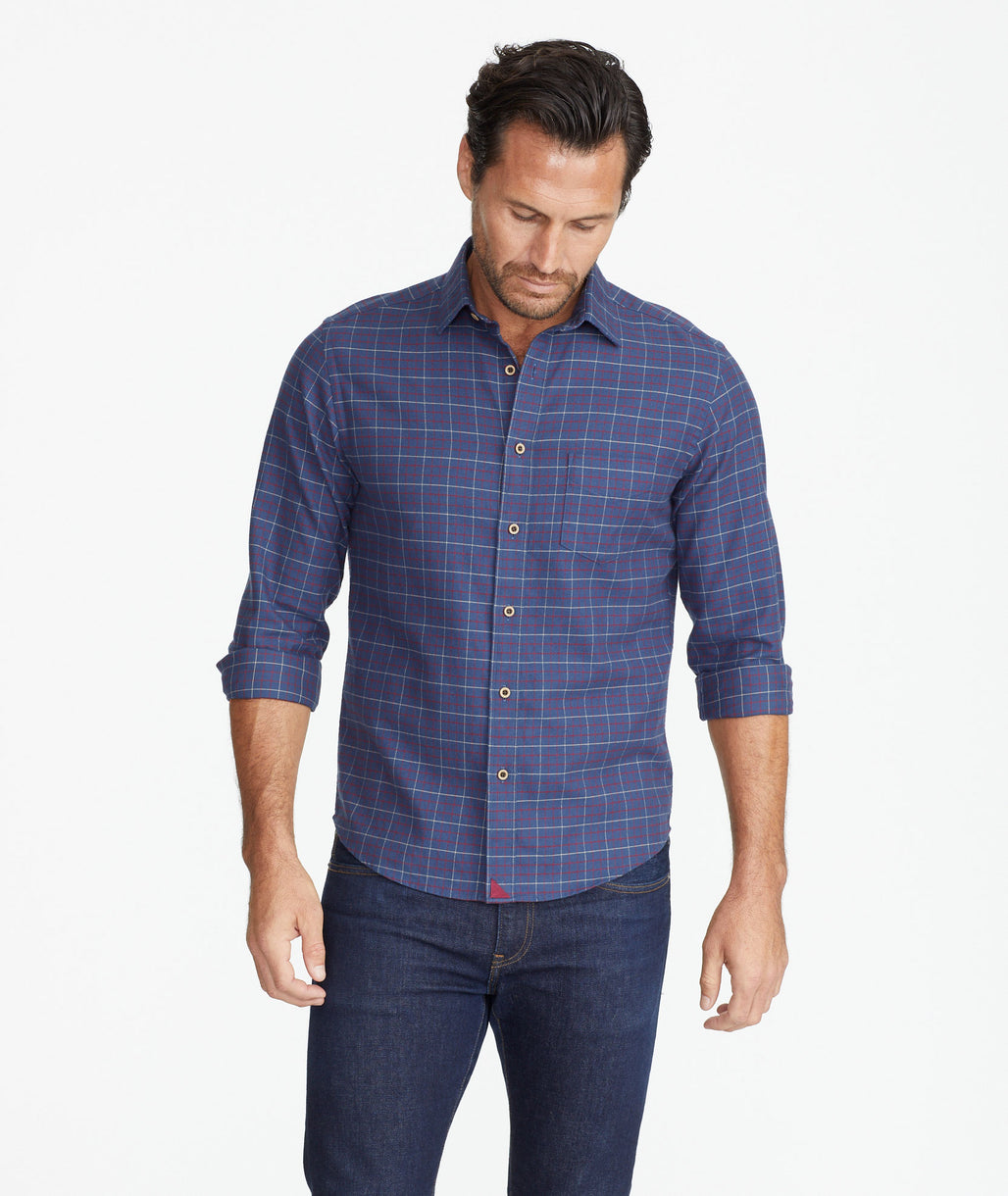 Model wearing a Blue Flannel Balar Shirt