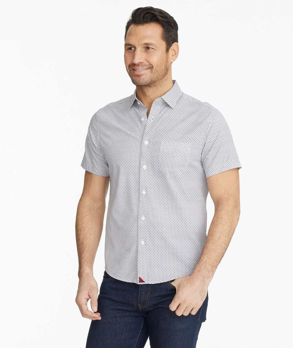 Model wearing a White Wrinkle-Free Performance Short-Sleeve Barcolo Shirt