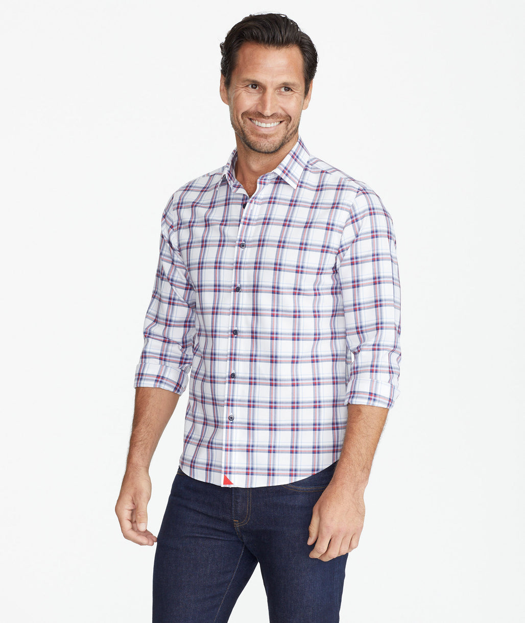 Model wearing a Red Lightweight Wrinkle-Free Flannel Baron Shirt