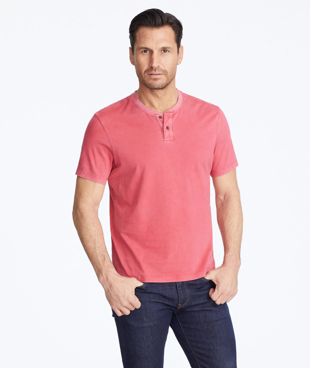 Model wearing a Red Short-Sleeve Baxter Henley