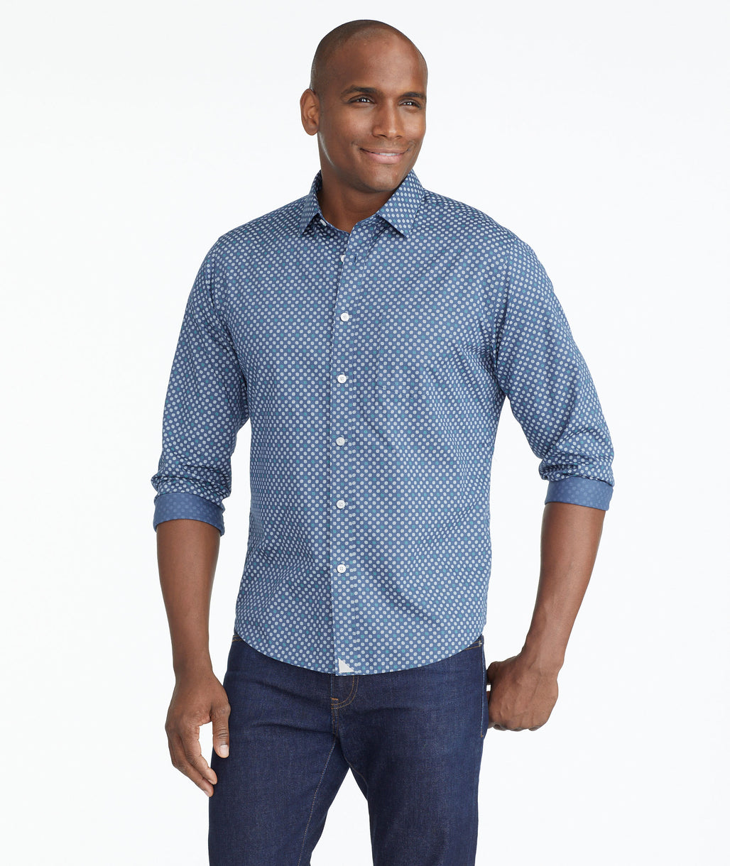Model wearing a Navy Classic Cotton Shirt with Geometric Dot Print