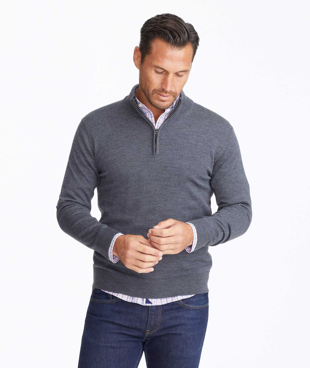 Model wearing a Merino Wool Quarter-Zip