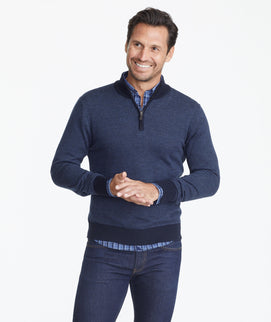 Model wearing a Navy Merino Wool Birdseye Quarter-Zip