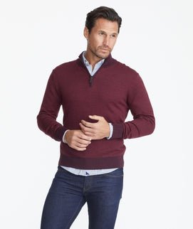Model wearing a Dark Purple Merino Wool Birdseye Quarter-Zip
