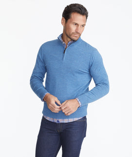 Model wearing a Blue Merino Wool Quarter-Zip