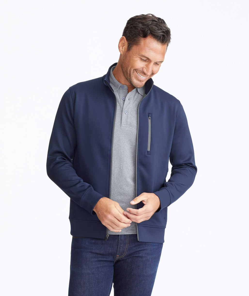 Model wearing a Navy Performance Full-Zip