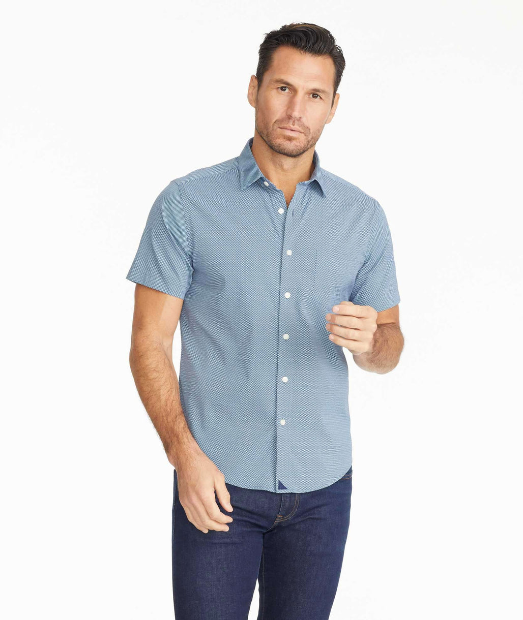 Model wearing a Wrinkle-Free Performance Benham Shirt