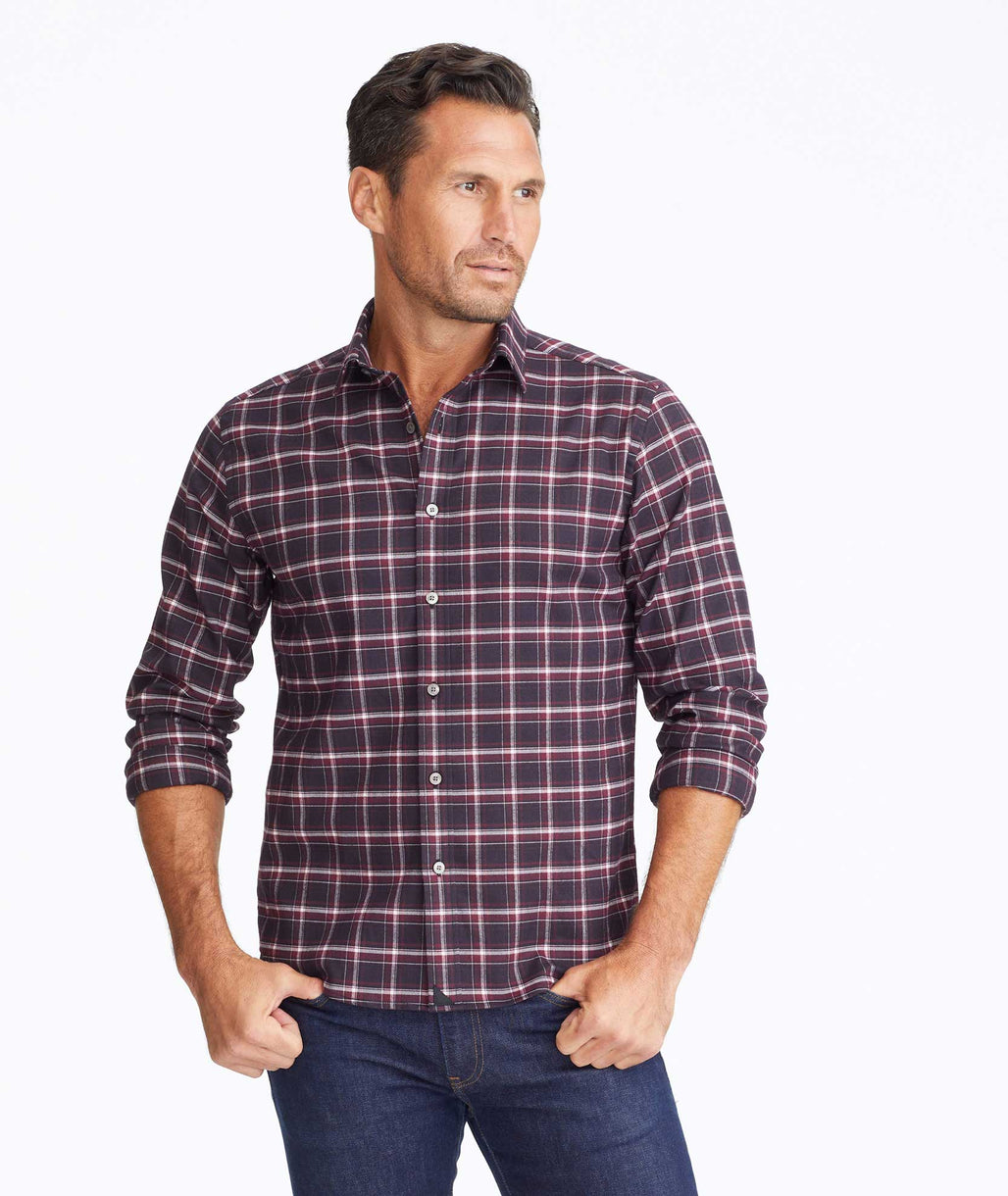 Model wearing a Dark Red Wrinkle-Free Performance Flannel Benoit Shirt