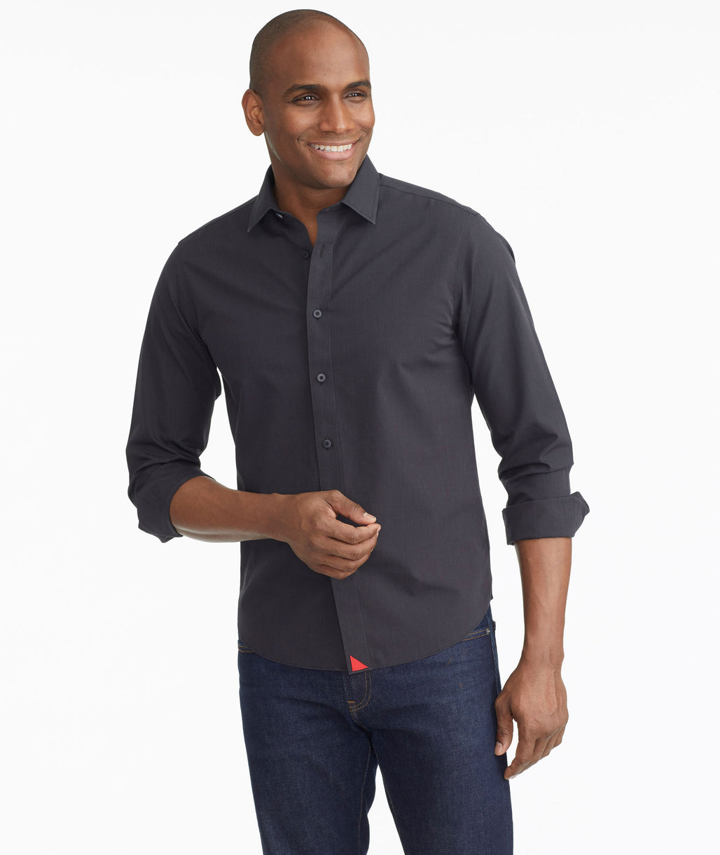 Model wearing a Black Wrinkle-Free Black Stone Shirt