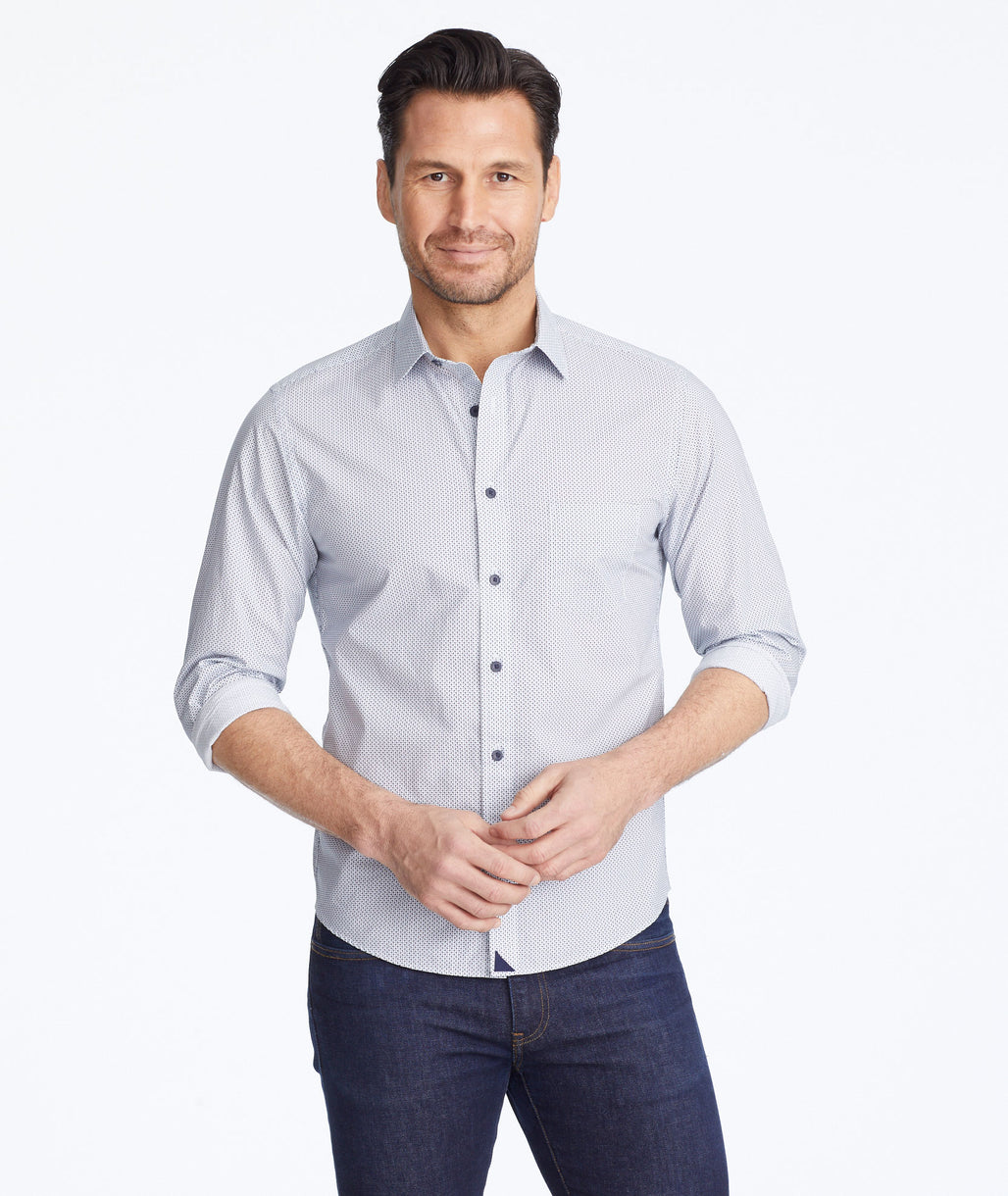 Model wearing a Light Blue Classic Cotton Boyden Shirt