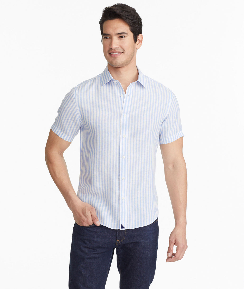 Model wearing a Blue Breckenridge - Wrinkle Resistant - FINAL SALE