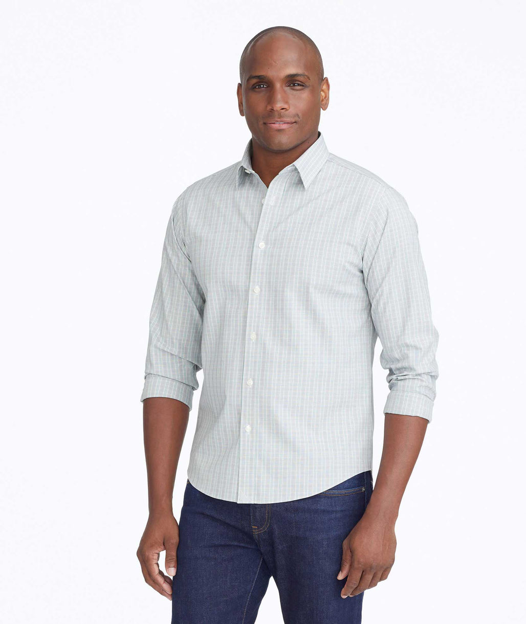 Model wearing a Green Wrinkle-Free Calera Shirt