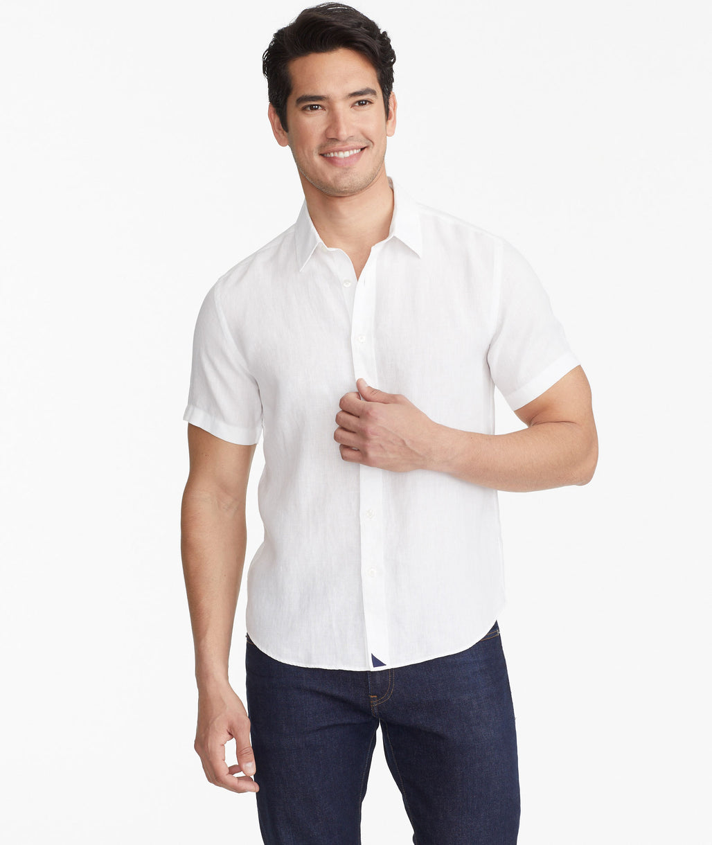 Model wearing a White Calvano - Wrinkle Resistant