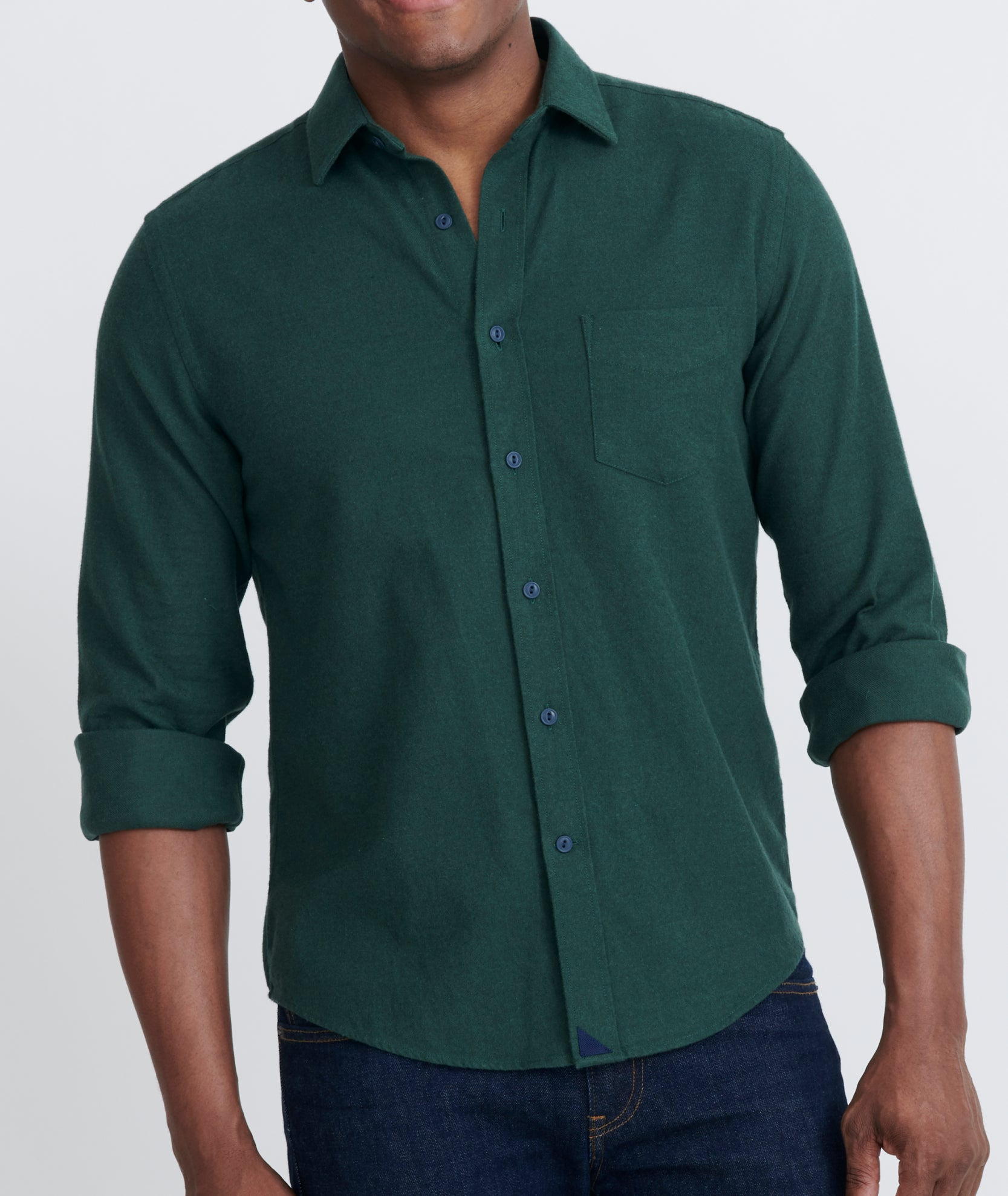 Canto Dark Green Flannel With Spread Collar Untuckit