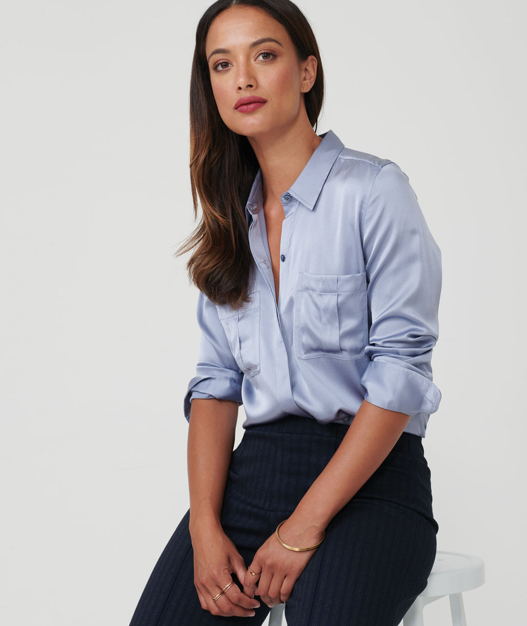 Model wearing a Light Blue carlina shirt