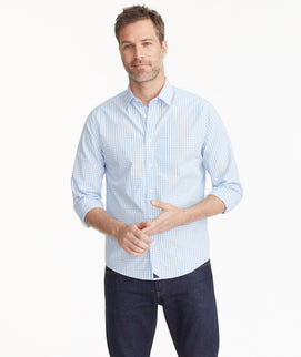 Model wearing a Blue Classic Cotton Carneros Shirt
