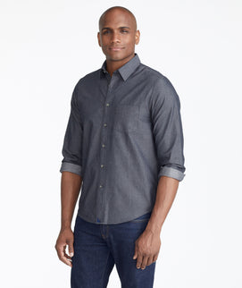 Model wearing a Grey Classic Chambray Shirt