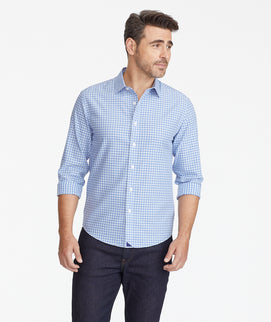 Model wearing a Blue Wrinkle-Free Casale Shirt