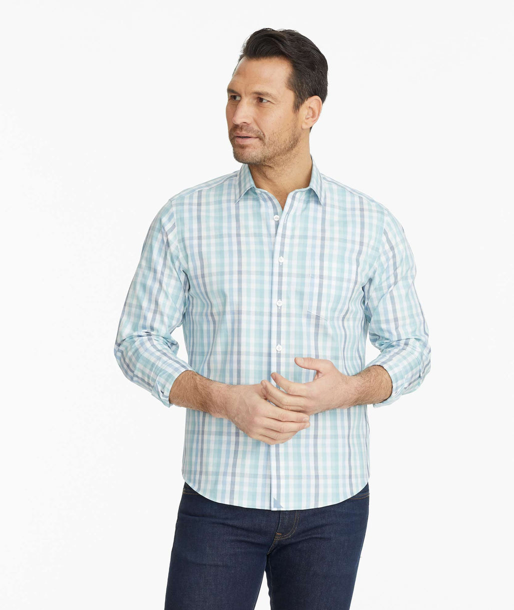 Model wearing a Navy Wrinkle-Free Castano Shirt