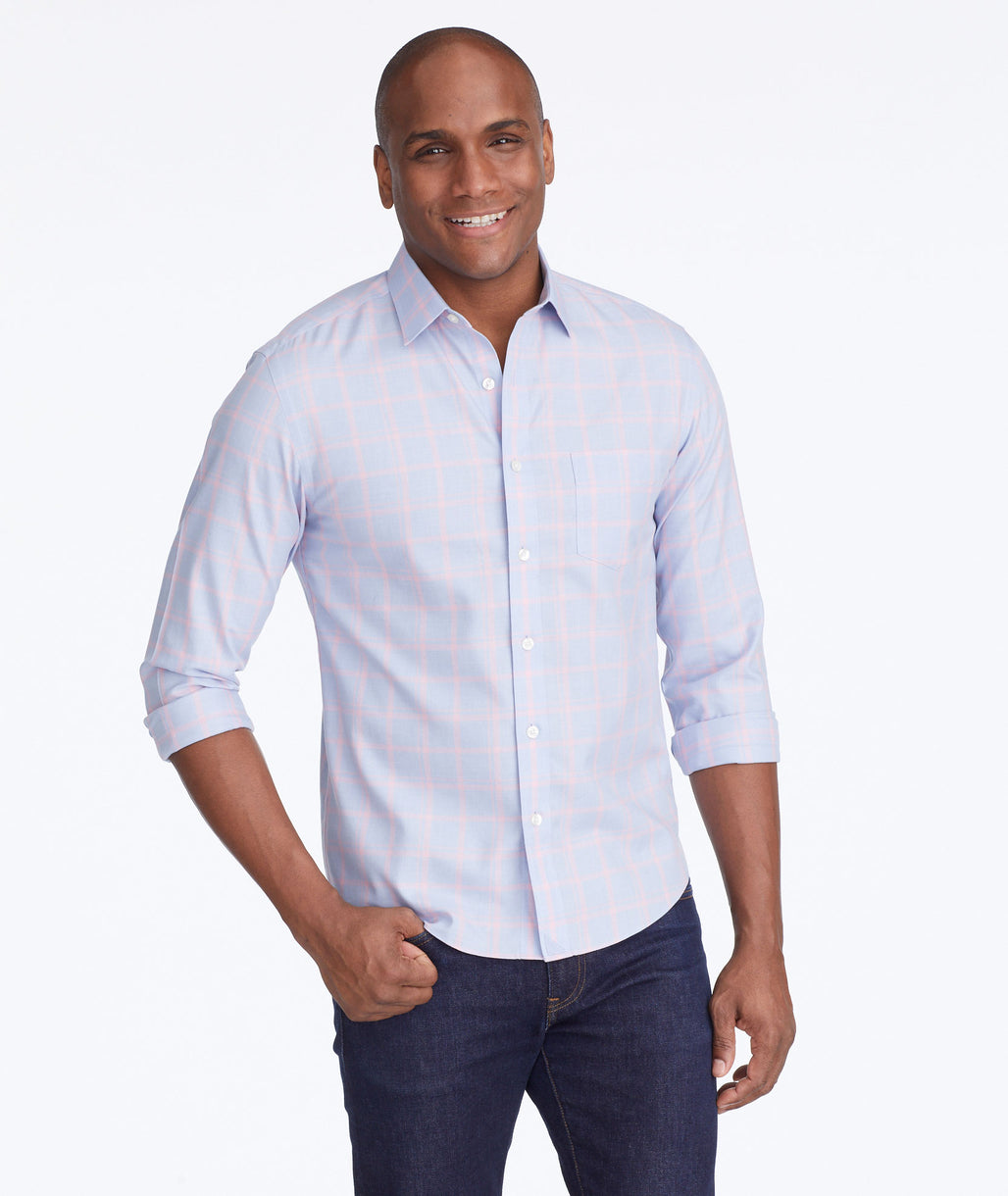 Model wearing a Light Blue Wrinkle-Free Castellare Shirt