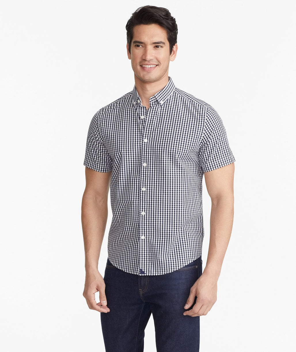 Model wearing a Navy Classic Short-Sleeve Censio Shirt