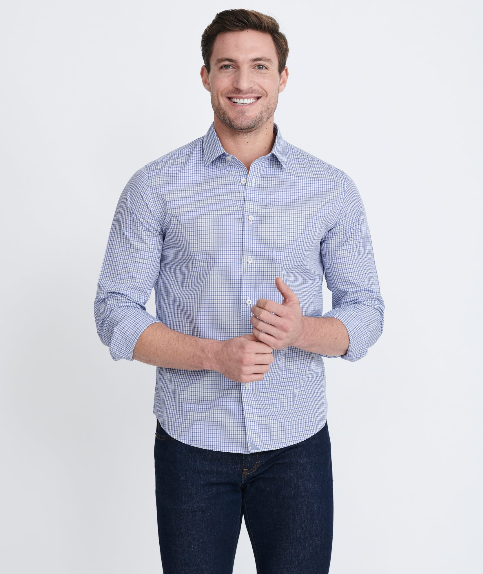 af3ac8f23 Chappellet Wrinkle Free Blue and White Check | UNTUCKit