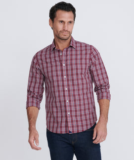 Model wearing a Redblue Wrinkle-Free Chevalier Shirt