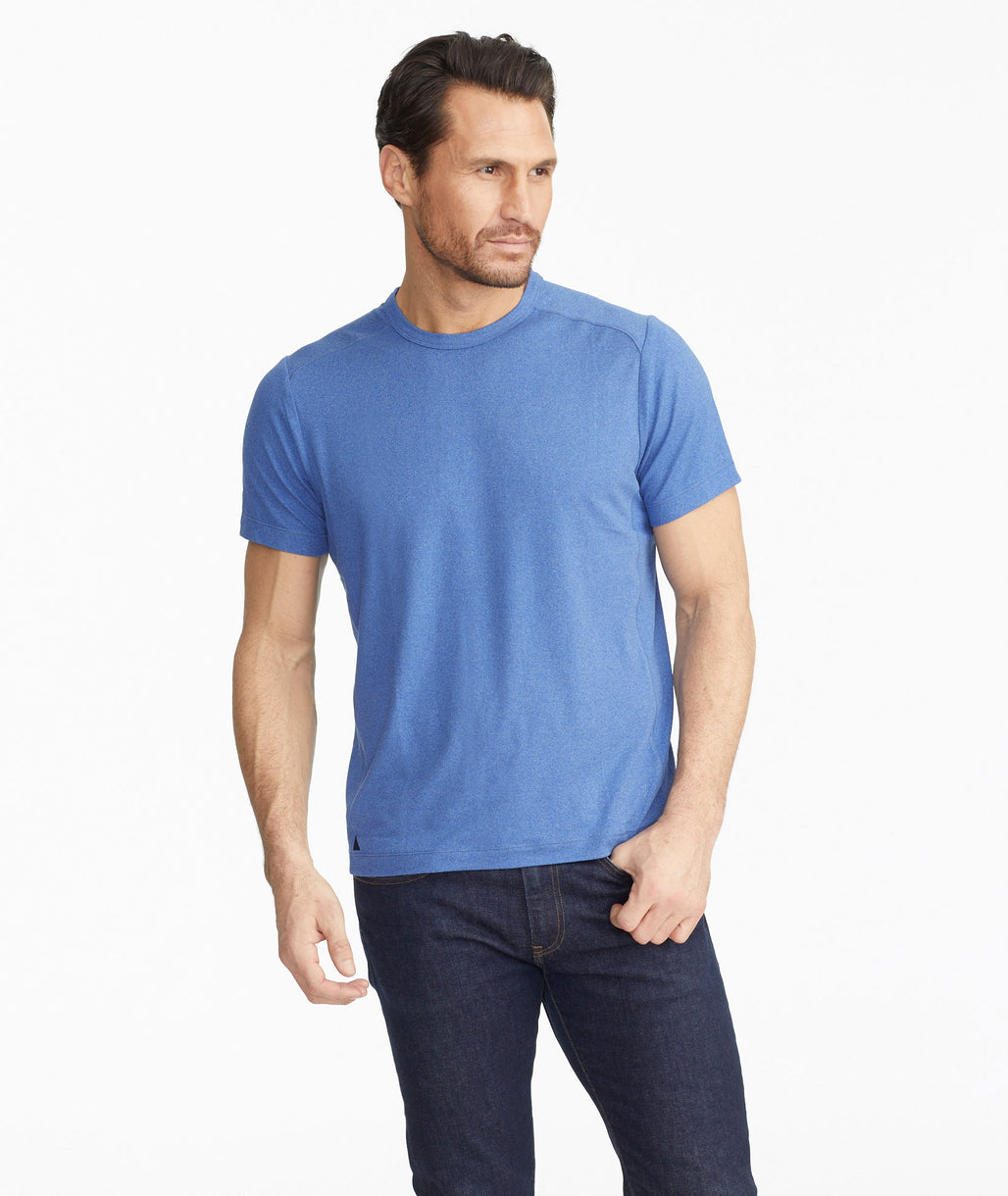 Model wearing a Bright Blue Performance Tee