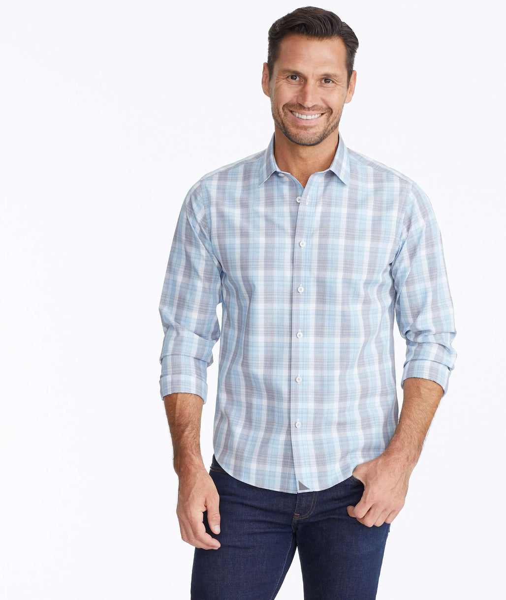 Model wearing a Wrinkle-Free Collins Shirt