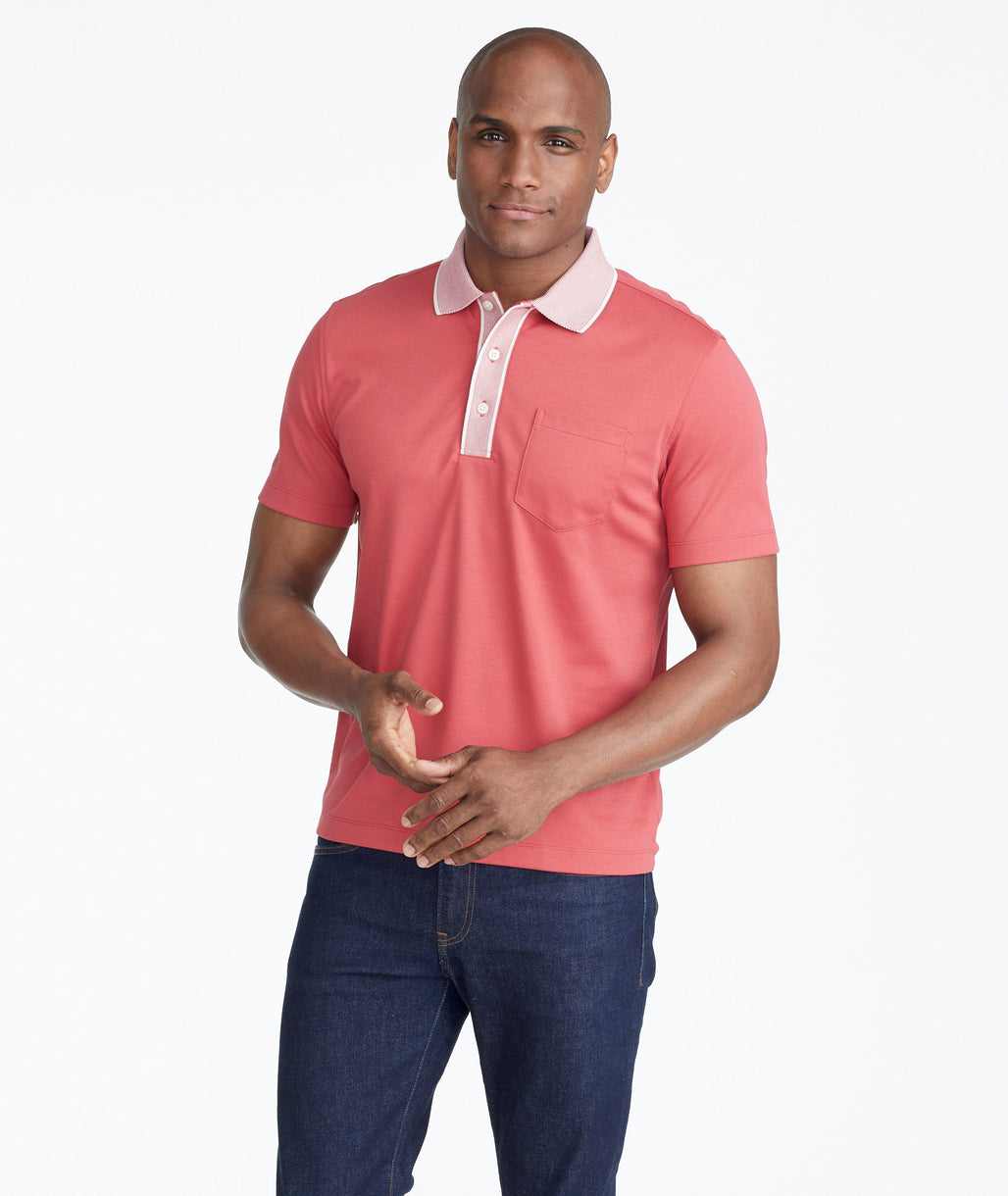 Model wearing a Red The Wrinkle-Free Polo with Contrast Collar - FINAL SALE