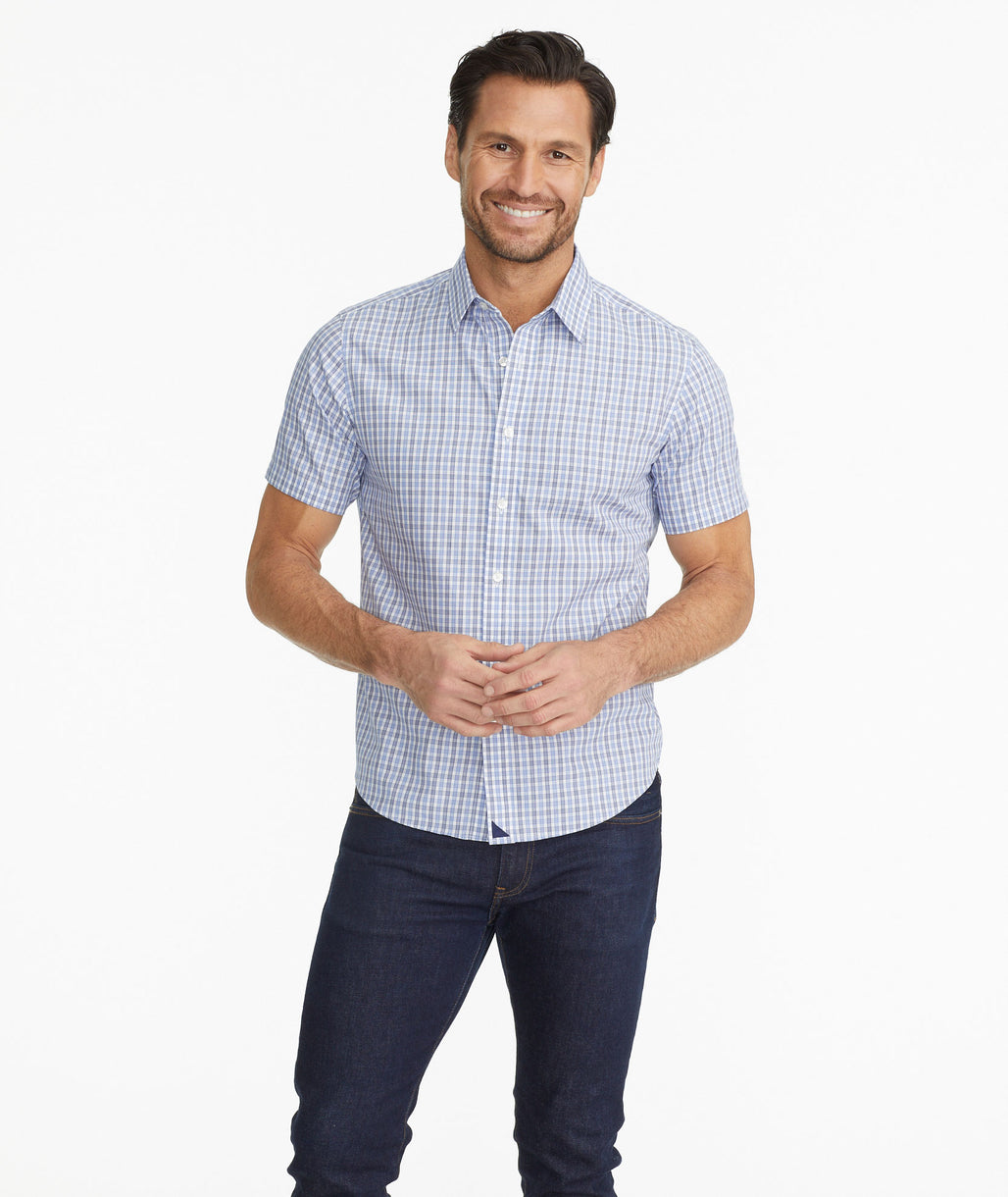Model wearing a Blue Wrinkle-Free Short-Sleeve Shirt